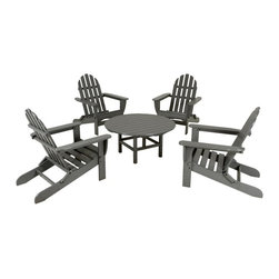 Polywood - Classic Adirondack 5-Piece Conversation Table Set in Slate Gray - Good friends and good conversation. It just doesn't get any better unless you're enjoying it all in the comfort and style of the Classic Adirondack 5-Pc Conversation Table Set. Built to last for years, and through almost every type of weather, this durable group is constructed of solid recycled lumber that has the look of real wood and requires no painting, staining and waterproofing. Polywood lumber does not splinter, crack, chip, peel or rot and it is resistant to corrosive substances, insects, fungi, salt spray and other environmental stresses and also resists stains associated with wine and condiments.