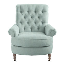 Abbott & Costello Chair - What a pair Abbott & Costello make. Sit and relax for awhile in Abbott's deep and wide seat with vintage tufted back and you won't want to get up. Paired with the matching curved Costello Ottoman, this set will make your room a show stopper.