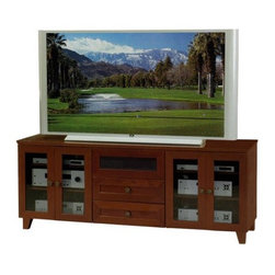 """Furnitech - Shaker 70"""" TV Stand - This stylish TV console will update the look of any room. The 70'' Shaker TV Stand in Dark Cherry offers a traditional style with modern flair. The TV stand offers ample storage, including four adjustable shelves, which are concealed behind tempered glass doors, as well as multiple storage drawers. Features: -Four wood framed, tempered glass doors.-Four adjustable shelves.-Center channel speaker drawer.-Two media storage drawers.-Internal wire management.-Ventilated back panel.-Perfect for DLP, Plasma, LCD TVs.-Dark Cherry finish.-Due to color variance in the product finish, actual TV stand finish may differ from image.-Recommended TV Type: Flat screen or plasma.-Finish: Dark Cherry.-Powder Coated Finish: No.-Gloss Finish: Yes.-Material: Veneer, MDF, Solid Wood.-Number of Items Included: 1.-Distressed: No.-Exterior Shelves: No.-Drawers: Yes -Number of Drawers: 2.-Drawer Glide Material: Steel drawer glides.-Drawer Glide Extension: Full extension glides.-Soft Close Drawer Glides: No.-Safety Stop: Yes.-Ball Bearing Glides: No.-Joinery Type: Heavy wood block cleats with thick metric screws.-Drawer Dividers: No.-Drawer Handle Design: Round wooden knob..-Cabinets: Yes -Number of Doors: 4.-Door Attachment Detail: European Hinge.-Interchangeable Panels: No.-Magnetic Door Catches: No.-Cabinet Handle Design: Round wooden knob.-Number of Interior Shelves: 4.-Adjustable Interior Shelves: Yes..-Scratch Resistant: No.-Ventilation Features: Ventilation slots in back panel.-Removable Back Panel: Yes.-Hardware Finish: Stainless Steel.-Casters: No.-Accommodates Fireplace: No.-Fireplace Included: No.-Lighted: No.-Media Player Storage: Yes.-Media Storage: Yes -Media Storage Capacity: 68 DVDS/175 CDS..-Cable Management: Yes.-Remote Control Included: No.-Batteries Required: No.-Weight Capacity: 500.-Swatch Available: Yes.-Commercial Use: Yes.-Collection: Shaker.-Eco-Friendly: Yes.-Recycled Content: No.-Lift Mechanism: No.-Expandable: Yes.-TV Swivel Base:"""