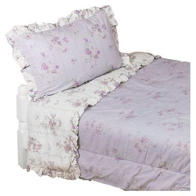 Cathgro Industries - Shabby Chic Twin Comforter Set Purple Flowers Bedding - Features: