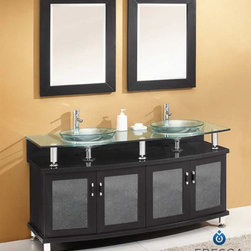 "Fresca - Fresca Contento 60"" Modern Bathroom Vanity - This lovely bathroom vanity takes a contemporary twist on baroque furniture. Little details such as its slightly octangular shape, cubby hole storage underneath the counter, clear tempered-glass basin, and a great mirror really make the Fresca Contento perfect for those looking to not just update their location while maintaining a timeless feel.This large-sized bathroom vanity is 59"" wide and 34.25"" high. Storage space is 22"" deep, providing ample room for bathroom necessities such as towels and washcloths. Optional side cabinets, sold separately, can be added to your order to increase storage room. Items included: Vanity, Mirror, Tempered Glass Sink, Faucet, P-Trap and Pop-Up Drain, Standard hardware needed for installation.DecorPlanet is proud to offer Fresca Bathroom products. Fresca is a leading manufacturer of high-quality vanities, accessories, toilets, faucets, and everything else to give you the freshest bathroom in the neighborhood. Fresca is known for carrying the latest and most popular styles in modern and contemporary bathroom design that are made with high quality materials and superior workmanship."