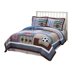 Pem America - Field Sports Twin Quilt with Pillow Sham - Get out there and run around on the big field with your favorite sport. The Field Sports quilt set is a cotton pieced quilt with classic plaid prints with quilted sports icons. The blues and greens used in the pattern make this quilt an easy match for any boys bedroom decor. Incorporate this fun quilt into your home today. Includes 1 twin size quilt 68x86 inches and 1 pillow sham. 100% cotton face material and microfiber polyester back.  Filled with 50% cotton / 50% polyester. Machine washable.