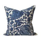 STUDIO TULLIA - Indigo Batik Floral Pillow Cover - Indigo Batik Floral - 20 inch Decorative pillow Cover - in a rich navy blue