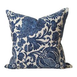 STUDIO TULLIA - Indigo Batik Pillow Cover - Floral Indigo Blue Pillow - Indigo Batik Floral - 20 inch Decorative pillow Cover - in a rich navy blue