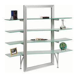 Dainolite - Dainolite DBS-400-GL-SV Elegant Free-Standing Shelf Frosted Glass Silver Metal - Dainolite DBS-400-GL-SV Elegant Free-Standing Shelf Frosted Glass Silver Metal