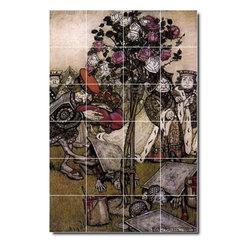 Picture-Tiles, LLC - Alice In Wonderland The Mock Turtles Story Tile Mural By Arthur Rackha - * MURAL SIZE: 25.5x17 inch tile mural using (24) 4.25x4.25 ceramic tiles-satin finish.
