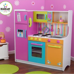 KidKraft - Deluxe Big and Bright Toy Kitchen - Kids will feel just like mom and dad when they cook up fun with the Deluxe Big and Bright Kitchen from KidKraft. This wooden play kitchen is cute, colorful and built to last! Features: -Bright multicolored finish -Made of wood -Recommended for ages 3 and up -Refrigerator, freezer, oven and microwave open and close -See-through doors on oven and microwave -Knobs on oven and sink turn and click -Convenient storage above and below the sink -Water graphics on the dishwasher -Large enough for multiple children to play at once -Assembly required -120 day replacement warranty against defects in materials and workmanship