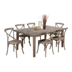 Jofran - Jofran Burnt Grey 7-Piece Rectangle Leg Dining Room Set in Solid Oak - Belongs to Burnt grey collection by Jofran. Solid oak.