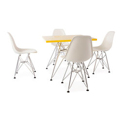 "Vertigo Interiors - Eames Style Kids Square Yellow Table & 4 Kids DSR Chairs, Orange Chairs - Vertigo Interiors is proud to present to you the highest quality reproduction of the Kid's Eames Square Table and DSR Chairs on the market today. Both stylish and decorative, this set can be used in a playroom, at school, in a nursery, or as a dining set. The tabletop is constructed of high quality ABS plastic with a chrome ""Eiffel"" base. Designed by Charles and Ray Eames, our highest quality reproductions of these classic models are a fitting tribute the originals."