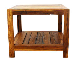 Kammika - End Table w Shelf 22x22x18 inch H Farmed Teak Inlay w Livos Eco Friendly Oak Oil - Our beautiful Farmed Teak Wood Hand Inlay End Table with Shelf 22 inch length x 22 inch width x 18 inch height with Eco Friendly, Natural, Food-safe Livos Oak Oil (honey brown) Finish presents a solid 2 inch Farmed Teak wood frame with the log quarters sawn into planks for inlay. The beauty of the grain is seen more clearly in the inlay. This handsome, sturdy, versatile piece of eco friendly functional art can be used as an end table or a small coffee table. Classic lines expose the natural grain of the logs, presenting an attractive, sturdy, versatile piece. Placed in the garden, on a deck, inside an entry way, or at the foot of a bed, it is sure to draw attention. Eco friendly natural Livos Oak oil creates a water resistant and food safe polished to a matte finish. The light and dark portions of wood turn to darker shades of brown over time and the alkaline in the oils creates a honey orange color. There is no oily feel; and cannot bleed into carpets. Crafted from dense Farmed Teak - water flows off easily, these pieces are great for spas, pools, and other wet areas. Can be used to set up an indoor or outdoor shower or bathing area; they are also great for in home spa set ups and swimming pool rinse off areas. Hand crafted from sustainable Farmed Teak wood from the Thai Royal Forestry Department, we make minimal use of electric hand sanders in the finishing process. Dried in solar or propane kilns, no chemicals are used in the process, ever. Each piece is packaged with cartons from recycled cardboard with no plastic or other fillers. As this is a natural product, the color and grain of piece of Nature will be unique, and may include small checks or cracks that occur when the wood is dried. Sizes are approximate. Products could have visible marks from tools used, patches from small repairs, knot holes, natural inclusions, or holes. There may be various separations or cracks