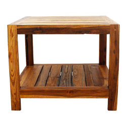Kammika - End Table w Shelf 22x22x18 inch H Farmed Teak Inlay w Livos Eco Friendly Oak Oil - Our beautiful Farmed Teak Wood Hand Inlay End Table with Shelf 22 inch length x 22 inch width x 18 inch height with Eco Friendly, Natural, Food-safe Livos Oak Oil (honey brown) Finish presents a solid 2 inch Farmed Teak wood frame with the log quarters sawn into planks for inlay. The beauty of the grain is seen more clearly in the inlay. This handsome, sturdy, versatile piece of eco friendly functional art can be used as an end table or a small coffee table. Classic lines expose the natural grain of the logs, presenting an attractive, sturdy, versatile piece. Placed in the garden, on a deck, inside an entry way, or at the foot of a bed, it is sure to draw attention. Eco friendly natural Livos Oak oil creates a water resistant and food safe polished to a matte finish. The light and dark portions of wood turn to darker shades of brown over time and the alkaline in the oils creates a honey orange color. There is no oily feel; and cannot bleed into carpets. Crafted from dense Farmed Teak - water flows off easily, these pieces are great for spas, pools, and other wet areas. Can be used to set up an indoor or outdoor shower or bathing area; they are also great for in home spa set ups and swimming pool rinse off areas. Hand crafted from sustainable Farmed Teak wood from the Thai Royal Forestry Department, we make minimal use of electric hand sanders in the finishing process. Dried in solar or propane kilns, no chemicals are used in the process, ever. Each piece is packaged with cartons from recycled cardboard with no plastic or other fillers. As this is a natural product, the color and grain of piece of Nature will be unique, and may include small checks or cracks that occur when the wood is dried. Sizes are approximate. Products could have visible marks from tools used, patches from small repairs, knot holes, natural inclusions, or holes. There may be various separations or cracks on your piece. There may be some slight variation in size, color, texture, and finish color.Only listed product included.