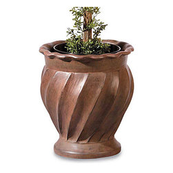"Improvements - Swirl Sculpted Urn - Garden urn comes with two pot rings to keep a potted plant from shifting. Swirl Sculpted Urn holds a pot 7"" or 8"" in diameter (using a pot ring) or 10"" in diameter (without a pot ring). This stylish garden urn can also be used for direct planting: simply fill with soil and add your own annuals or a small shrub. Custom-sized to hold any of our life-like topiaries, this stone-look garden urn will accommodate any pot that's 7"", 8"" or 10"" in diameter. You can also add garden soil to the Swirl Sculpted Urn for direct planting of real plants or small shrubs. Crafted of weather-resistant resin with a swirl design and pie crust rim, this classic garden urn will add an elegant look to your entryway or on your patio or porch. The Swirl Sculpted Urn includes 2 interchangeable metal pot rings to hold your topiary firmly in place, and measures 13""Dia. x 14-1/4""H. Benefits of the Swirl Sculpted Urn:"