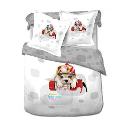Le Vele - Le Vele - Dog, Twin Size 4pc Duvet Cover Sheet Set Bedding 100% Cotton LE454T - This truly cute bedding set is featuring English bulldog puppies and create a very playful motif and a must have for the canine lover in your life.