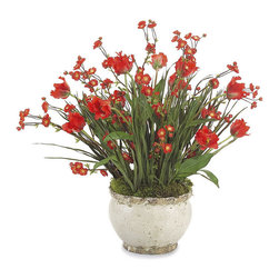 Frontgate - Bursting With Red Bouquet - Polyester silk blooms and leaves. Set in a cream colored ceramic pot. More than 2-1/2 ft. high. This jaunty Bursting With Red Bouquet will liven your spirits year-round. The vibrant red flowers are mixed with natural basil bulb foliage for a realistic bouquet that will never fade. .  . . Imported.