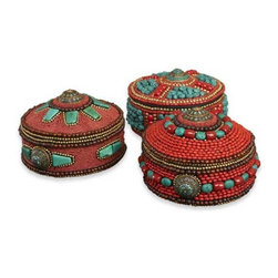 Interlude Home - Interlude Home Rissani Beaded Hat Boxes - These Interlude Home Beaded Hat Boxes are crafted from Brass and Glass and Beads and finished in Brass and Coral and Turquoise.  Overall size is:  8 in. W x 8 in. D x 5 in. H.