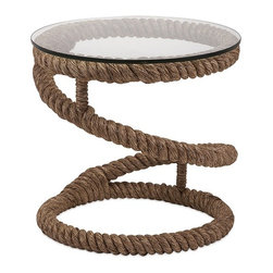Bedford Jute Rope Accent Table - Throw me a rope: Jute-based accent table with a glass top is ideal for a casual coastal setting.