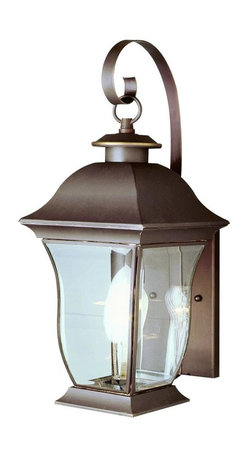 Joshua Marshal - One Light Weathered Bronze Clear Beveled Curved Rectangle Glass Wall Light - One Light Weathered Bronze Clear Beveled Curved Rectangle Glass Wall Light