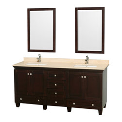 Acclaim 72 Double Bathroom Vanity Set Espresso - Sublimely linking traditional and modern design aesthetics, and part of the exclusive Wyndham Collection? Designer Series by Christopher Grubb, the Acclaim Vanity is at home in almost every bathroom decor. This solid oak vanity blends the simple lines of traditional design with modern elements like square undermount sinks and brushed chrome hardware, resulting in a timeless piece of bathroom furniture. The Acclaim comes with a White Carrera or Ivory marble counter, porcelain, marble or granite sinks, and matching mirrors. Featuring soft close door hinges and drawer glides, you'll never hear a noisy door again! Meticulously finished with brushed chrome hardware, the attention to detail on this beautiful vanity is second to none and is sure to be envy of your friends and neighbors!