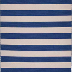 Jaipur Rugs - Flat Weave Stripe Pattern Blue Wool Handmade Rug - PV45, 9x12 - Bold color is the name of the game with Pura Vida. This beautiful collection of durable, reversible flat-woven dhurries combines the classic simplicity of linear patterns with a decidedly modern palette for a look that's at once casual and sophisticated.