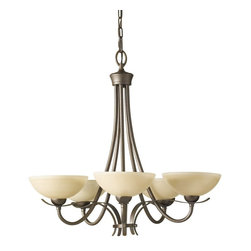 Murray Feiss - Murray Feiss Kinsey Transitional Chandelier X-BC5/3242F - Traditional styling with clean, modern lineage, this Murray Feiss Chandelier also features warm finishes that help it create an inviting glow in any space. From the Kinsey Collection, it features a rich Corinthian Bronze finish that compliments the warm tones of the five shiny cream glass shades.