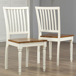 None - Antique White Oak Dining Chair (Set of 2) - With this set of two white dining chairs, you can easily accent almost any kind of dining room. With its sturdy construction and highlighted by a rustic oak seat, this chair is a classic addition to any home.