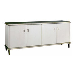 """Server - This server is a classic expression of Vintage Modern styling. It is accented with over-scaled doors with recessed hardware shown in polished nickel. The generous interior provides ample storage with two adjustable shelves and two drawers. Available in Washed Linen Finish with contrasting Greypoint finished top and base. Measures 84""""w x 22""""d x 35""""h."""