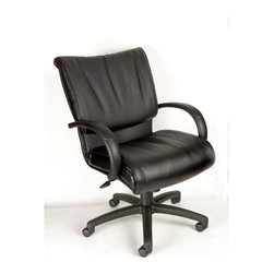 "Boss - Mid Back Black Leatherplus Executive Chair - Executive leather chair. Upholstered with Black Leather Plus. LeatherPlus is leather that is polyurethane infused for added softness and durability. Dacron Filled Cushions. Adjustable tilt-tension control. Pneumatic gas lift seat height adjustment. Large 27"" nylon base for greater stability. Hooded double wheel casters. Optional knee-tilt mechanism available model (B9707). Matching guest chair model (B9709)."