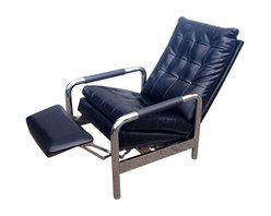 Pre-owned Milo Baughman for Thayer Coggin Recliner Chair - Sit in style with this awesome recliner lounge chair designed by Milo Baughman for Thayer Coggin. It's in great vintage condition with minimal wear and just a few scuffs on the corners of the back, perhaps from hitting a wall. The vinyl is in great shape as well as the chrome - it even has the original arm cover tubes.