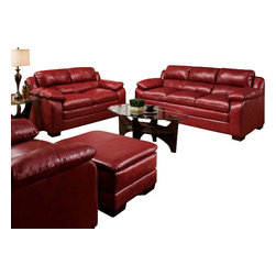 "Acme - 2 PC Jeremy Collection Cardinal Red Bonded Leather Match Sofa and Love Seat Set - 2-Piece Jeremy collection cardinal red bonded leather match sofa and love seat set with overstuffed cushions. This set comes with a sofa and a love seat with an overstuffed bonded leather match upholstery. Sofa measures 87"" x 38"" D x 39"" H. Love seat measures 64"" x 38"" x 39"" H. Optional chair and ottoman also available separately at additional cost, chair measures 58"" x 38"" x 39"" H. Ottoman measures 34"" x 22"" x 18"" H. Some assembly may be required."