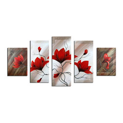 fabuart - Red Flower Painting 5 Panel- 64x36in - This beautiful Art is 100% hand-painted on canvas by one of our professional artists. Our experienced artists start with a blank canvas and paint each and every brushstroke by hand.