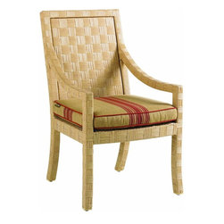 Lexington - Tommy Bahama Canberra Surf & Sand Dining Arm Chair - Inspired by the rugged beauty and indigenous style of Australia, designs from the Canberra Surf & Sand collection feature a beautiful parquet pattern of all-weather woven rattan in a light natural finish. The look has a sophistication level that would make it absolutely appropriate for indoor use. With Canberra Surf & Sand, casual contemporary designs from half a world away will make you feel right at home. Relax in style!