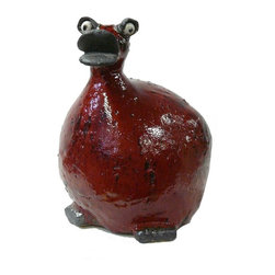 "Golden Lotus - Chinese Art Distress Red bird Figure - Dimensions:   w9"" x d10"" x h11.5"""
