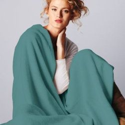 Garnet Hill - Garnet Hill Cotton Fleece Blanket and Throw from Germany - Double - Deep Water - Crafted in Germany using exclusive Garnet Hill colors, this luxurious all-cotton blanket or throw of soft high-pile fleece wicks away moisture and conserves body heat to keep you comfortable regardless of the season. Finished with matching velour binding on all sides, each blanket and throw is made to last; a special washing process ensures deep and bright colorfast hues for years to come. Germany.