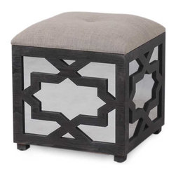 Vertuu Design - Elba Wooden Ottoman - Give your furniture a chic update using the Elba Wooden Ottoman. Its features include a textured taupe fabric seat and espresso wood with a simple geometric pattern. Display it in a bathroom, bedroom or dining room among transitional design elements for a polished, cohesive look.