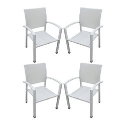 Modway Furniture - Modway Bella Patio Chairs Set of 4 in White - Patio Chairs Set of 4 in White belongs to Bella Collection by Modway Relax in confidence, as you effortlessly unite diverse forces to take center stage. Wealth and success surround you and draw attention to greater heights. This outdoor wicker dining chair has a sturdy aluminum frame covered with a white rattan weave. Set Includes: Four - Bella Outdoor Wicker Patio Dining Chairs Patio Chair (4)