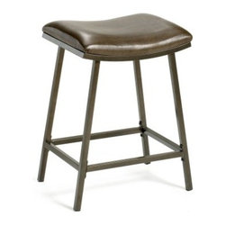 Hillsdale Saddle Adjustable Height Bar Stool - If you want to add a casual yet elegant flair to your kitchen or bar seating you can't go wrong with the Hillsdale Adjustable Saddle Bar Stool. Constructed from heavy-gauge tubular steel with a copper-brown finish this bar stool sports a flared rectangular base reminiscent of transitional style. You'll be seated comfortably all through the evening. Upholstered brown vinyl seat and four sided footrest. Adjustable legs allow this stool to go from counter to bar height while the backless and armless design allows it to be tucked under your kitchen counter table or home bar when not in use. Perfect for mealtimes entertaining or lounging this adjustable bar stool provides stylish versatile seating for any modern home. Please note: This item is not intended for commercial use. Warranty applies to residential use only. About Hillsdale FurnitureLocated in Louisville Ky. Hillsdale Furniture is a leader in top-quality affordable bedroom furniture. Since 1994 Hillsdale has combined the talents of nationally recognized designers and globally accredited factories to bring you furniture styling and design from around the globe. Hillsdale combines the best in finishes materials and designs to bring both beauty and value with every piece. The combination of top-quality metal wood stone and leather has given Hillsdale the reputation for leading-edge styling and concepts.