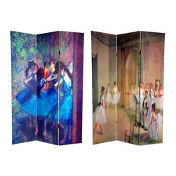 "Oriental Unlimited - Double Sided 6 ft. Tall Dancers Canvas Foldin - One double-sided divider, both sides shown in image. Presenting 2 powerful paintings from France's famous ""anti-impressionist"" impressionist painter - Edgar Degas. The subjects of both paintings, as with many of Degas' most acclaimed works, are ballet dancers. The front image is Blue Dancers, circa 1890, featuring dancers in deep sapphire blue tutus in front of a lovely mottled background. On the back is The Dance in the Foyer at the Opera on the Rue Le Peletier, circa 1872, featuring ballerinas in white studying their craft. Both sides are fine quality reproductions of 2 of Degas' most engaging, compelling works of art. This multi-purpose room divider provides attractive interior design elements for your living room, bedroom, dining room, home office or business. This 3 panel screen has different images on each side. High quality wood and fabric covered room divider. Well constructed, extra durable, kiln dried Spruce wood frame panels, covered top to bottom, front, back and edges. With tough stretched poly-cotton blend canvas. 2 Extra large, beautiful art prints - printed with fade resistant, high color saturation ink, creating 2 stunning, long lasting, vivid images, powerful visual focal points for any room. Amazingly inexpensive, practical, portable, decorative accessory. Almost entirely opaque, double layer of canvas, providing complete privacy. Easily block light from a bedroom window or doorway. Great home decor accent - for dividing a space, redirecting foot traffic, hiding unsightly areas or equipment, or for providing a background for plants or sculptures, or use to define a cozy, attractive spot for table and chairs in a larger room. Assembly required. 15.75 in. W x 70.88 in. H (each panel)"