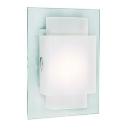 Trans Globe Lighting - Trans Globe Lighting PL-MDN-844 GU 24 Beveled  Rectangle Wall SconceEnergy Effic - A new age wall sconce in a sleek trendy design. Slim frosted glass paired and stacked on top a nickel wall plate.  Polished chrome accents.