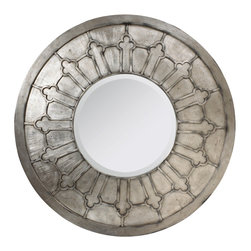 Kathy Kuo Home - Alexandria French Country Antique Silver Round Wall Mirror - A large, luminous silver wall mirror makes a stylish statement in an entryway, hallway or guest room. Inviting and intriguing, the shading on the circular frame highlights the mahogany, architectural engravings. The oversized, ornamental hanging enlarges and enlivens your home.