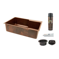 "Premier Copper Products - 33"" Hammered Copper Kitchen Single Basin Sink with Matching Drain / Accessories - PACKAGE INCLUDES:"