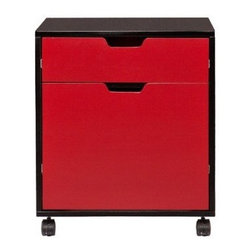 Benton 2-Drawer Mobile File Cabinet - Glossy lipstick red, a border of black and ready-to-roll wheels make for some serious fast-lane filing. I wonder if this would get me do any of my filing more efficiently.