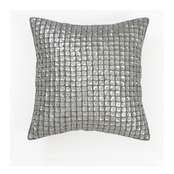 "Best Home Fashion - Mother of Pearl Pillow - 14"" x 14"", Silver, 14"" - Handmade mother of pearl pillow is the perfect decor piece for any sofa, chair, or bed"