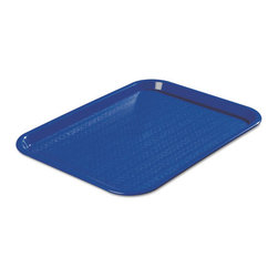 Carlisle - Carlisle Cafe Standard Tray, 16W x 12D, Blue - Economical, lightweight, nearly unbreakable polypropylene trays are well suited to food courts and cafeterias. Textured basket-weave design reduces surface food movement, minimizing the potential for accidental spills. Bottom-mounted drying and stacking lugs help improve post-wash turnaround.