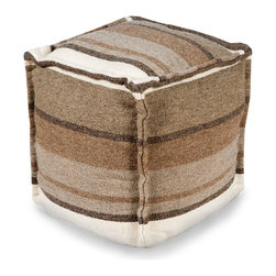 Wool Stripe Pouf - Grey and Olive - Robust and appealing, the Wool Stripe Pouf in Grey and Olive uses a single repeat of a dramatic yet dignified neutral stripe pattern on each of its walls, providing calm, directional interest in a niche of your home. Its slightly rugged wool color achieves a polished look with the neatness of tan and walnut stripes, while heavily double-seamed edges make a cozy statement.
