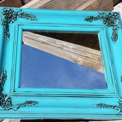 Ocean Aqua Blue Mirror and Frame Set by Simply Uniquely Me - This mirror is such a gorgeous aqua. The decorative elements added to the corners and perfectly painted and distressed finish are wonderful.