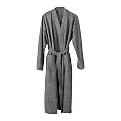Coyuchi - Coyuchi Organic Unisex Heather Flannel Robe, Medium/Large - The family-owned German mill that makes this Coyuchi organic flannel robe was founded in 1885. Their legendary six-ounce flannel is woven from a mix of thick and thin yarns for a sublimely soft, plush hand. A kimono collar, and side pockets make this wrap especially cozy. It's styled for men or women, with double belt-loops so you can adjust the fit.