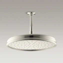"KOHLER - KOHLER Traditional Round 8"" rainhead with Katalyst(R) spray technology, 2.0 gpm - Enjoy a shower that simulates the soaking deluge of a warm summer downpour. This traditional-style showerhead features innovative Katalyst(R) air-induction technology, which efficiently mixes air and water to produce large water droplets and deliver a pow"