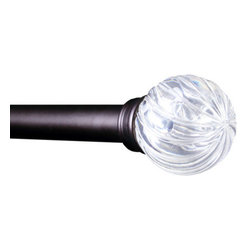 Elegant Home Fashions - Metallic Black Elisha Adjustable Window Rod, 28 to 48 - This attractive drapery rod and decorative finial will beautify your window. It has Transparent Clear finials with Swirl designs and with metal tube coated with metallic black color. The rod easily adjusts from 28 inches to 48 inches and includes mounting hardware. The rod measures 1 inch in diameter. A screwdriver is needed to install. Elegant Home Fashions - WR50012