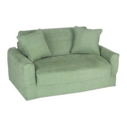 Fun Furnishings - Fun Furnishings Micro Suede Sofa Sleeper in Green - Pink micro Suede-chair sleeper by fun furnishings. The sofa and chair sleepers are the perfect place to sit to read, watch TV or play a game. When it is time to take a nap or find a place for a little friend to spend the night, flip open the chair or sofa , add a blanket and pillow and you are all set. Grandparents love having one at their home too. Built-in durability. We've worked hard to make our furniture durable and help it retain its a bedding sets bed and bath/Comforters and duvet fills bed and bath/sheets bed and bath/blankets and throws bed and bath/quilts and coverlets bed and bath/mattress pads and covers bed and bath/Pillows