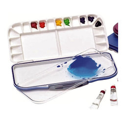 Martin Universal - Martin Universal Airtight Watercolor Palette - 92-WP3018B - Shop for Paints from Hayneedle.com! The special ring found on the Martin Universal Airtight Watercolor Palette keeps your oils or acrylics fresh for days or even weeks. This palette is airtight leak-proof and seals in moisture. Numerous paint wells and dual 4- x 10-inch mixing trays keep your paints and inspiration as fresh as ever.About Martin Universal/F. Weber Co.For a century and a half the name Martin Universal and F. Weber Co. have been synonymous with quality art materials. Established in 1853 in Philadelphia Pa. the Martin/Weber is the oldest and one of the largest manufacturers of art materials in the United States.